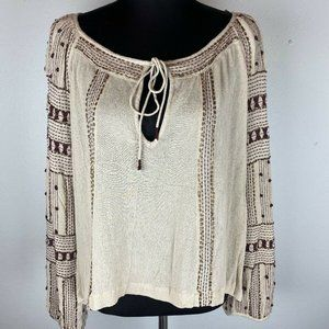 Free People Jess Embellished Top Tunic S Beige